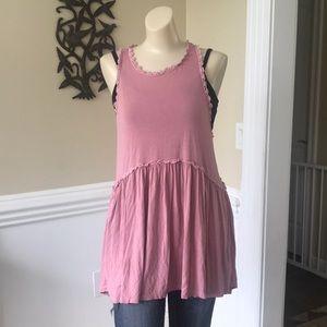 Tunic top crochet trim long tank rose